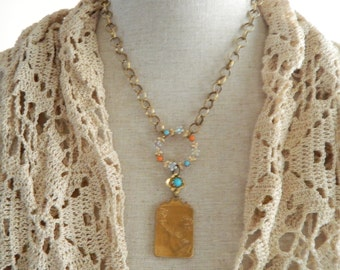 Art Medal Pendant Assemblage Necklace