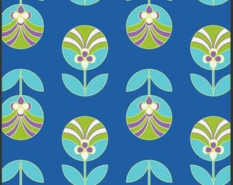 Florette Sapphire, Color Me Retro by Jeni Baker for Art Gallery Fabrics 1 Yard Cut