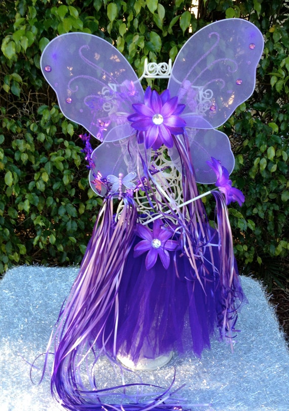 Purple Fairy Princess Wings and Dark Purple Tutu Fairy Dress Up Set Party Favors