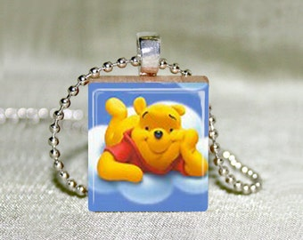"Winnie the Pooh 1 Scrabble Jewelry - Pooh Bear - Choose Pendant or Necklace - Winnie the Pooh Jewelry - Charm - 18"" Chain"