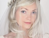 Flower Hair Wreath - Floral Wedding Crown - Woodland Wedding Flower Head Piece - Ivory Flowers & Twisting Vines