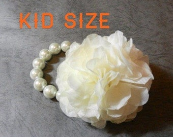 Kid Size- Handmade Chiffon Flower Bracelet (Ivory)  / flower girl corsage