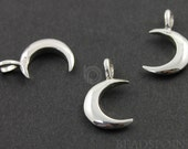Sterling Silver Moon Charm / Pendant with Jump Ring, Nightlife Jewelry Component, (SS/CH5/CR21)