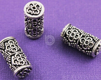 Bali Sterling Silver Large Cylinder Bead, Intricate Wirework Flowers and Granulation, Oxidized, Gorgeous Accent, (1 Piece) (BA5124)