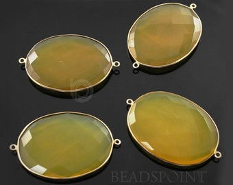 SALE Large Yellow Chalcedony Oval Connector Gold Vermeil , 31x41mm,1 Piece, (BZC7498-A)