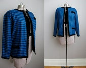 80s Vintage Houndstooth Jacket Blazer Black Blue Large
