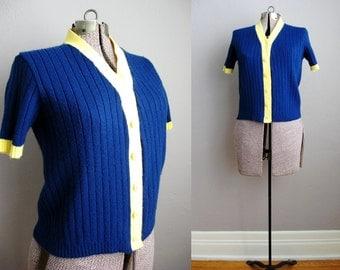 1950s Vintage Sweater Cardigan Navy Yellow Short Sleeve / Medium