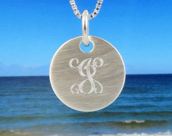 Silver Monogram Necklace- Personalized Initial Necklace- Monogrammed Necklace - Bridesmaids Necklace