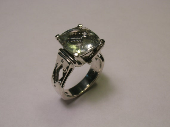 items similar to sterling silver green amethyst ring with