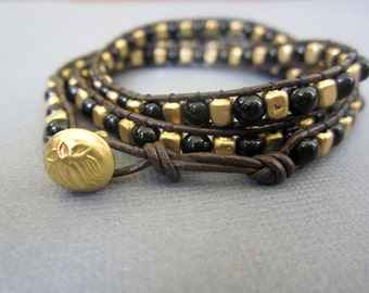 SALE - Triple Wrap Bracelet, Beaded Bracelett, Tibetan natural Brass bracelet, Lotus bracelet, Unisex.