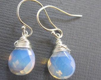 SALE - Dangling earrings, white glass droop earrings, silver earring, Wire wrap jewelry, hand wired earrings
