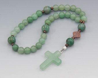 Anglican Prayer Beads - Green Aventurine Gemstone - Christian Rosary - Pocket Prayer Beads - Item # 746