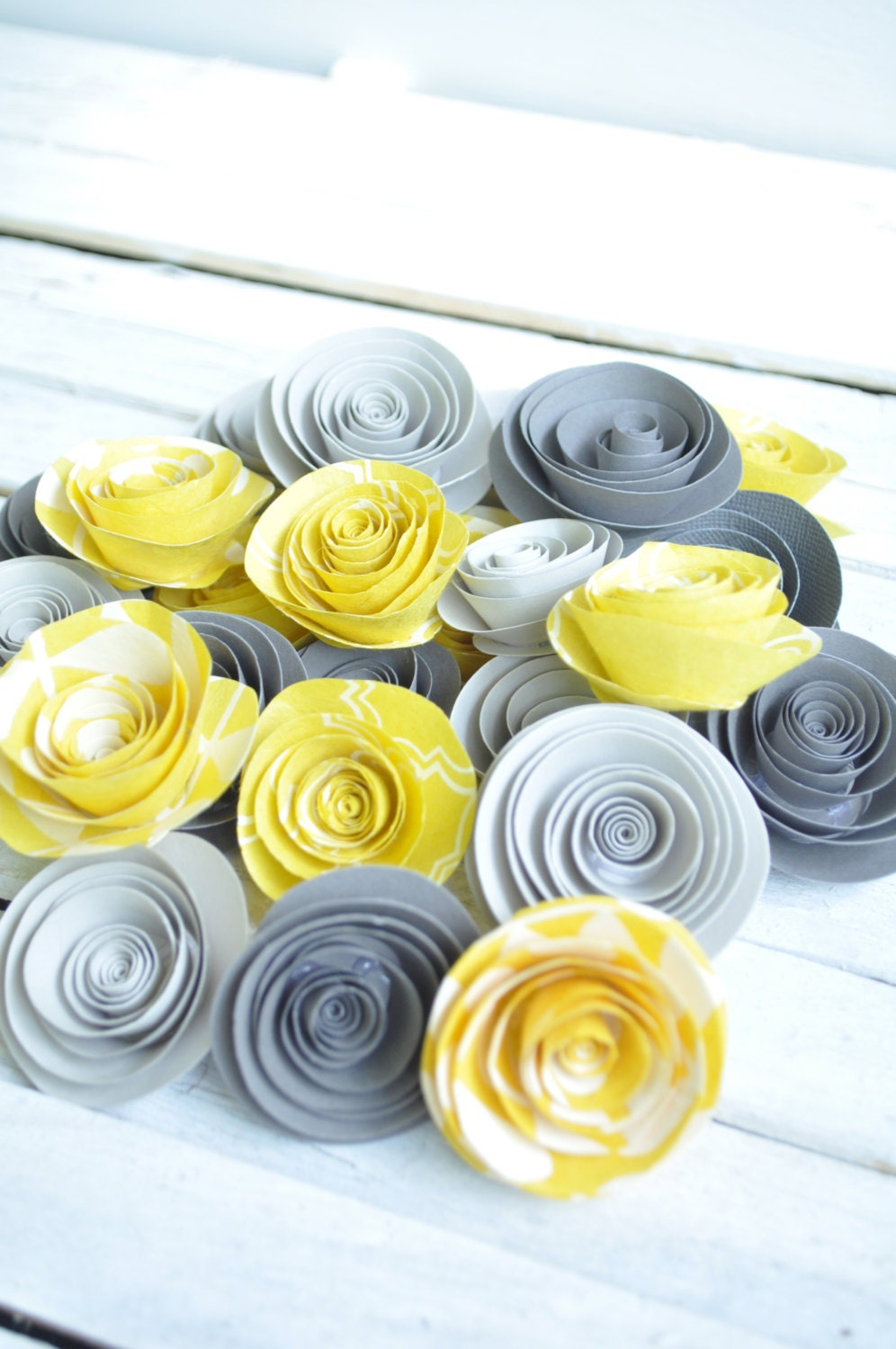 Yellow And Gray Paper Flowers Set Of 25 Flowers