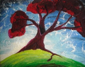 fantasy tree, felted picture, fibre art