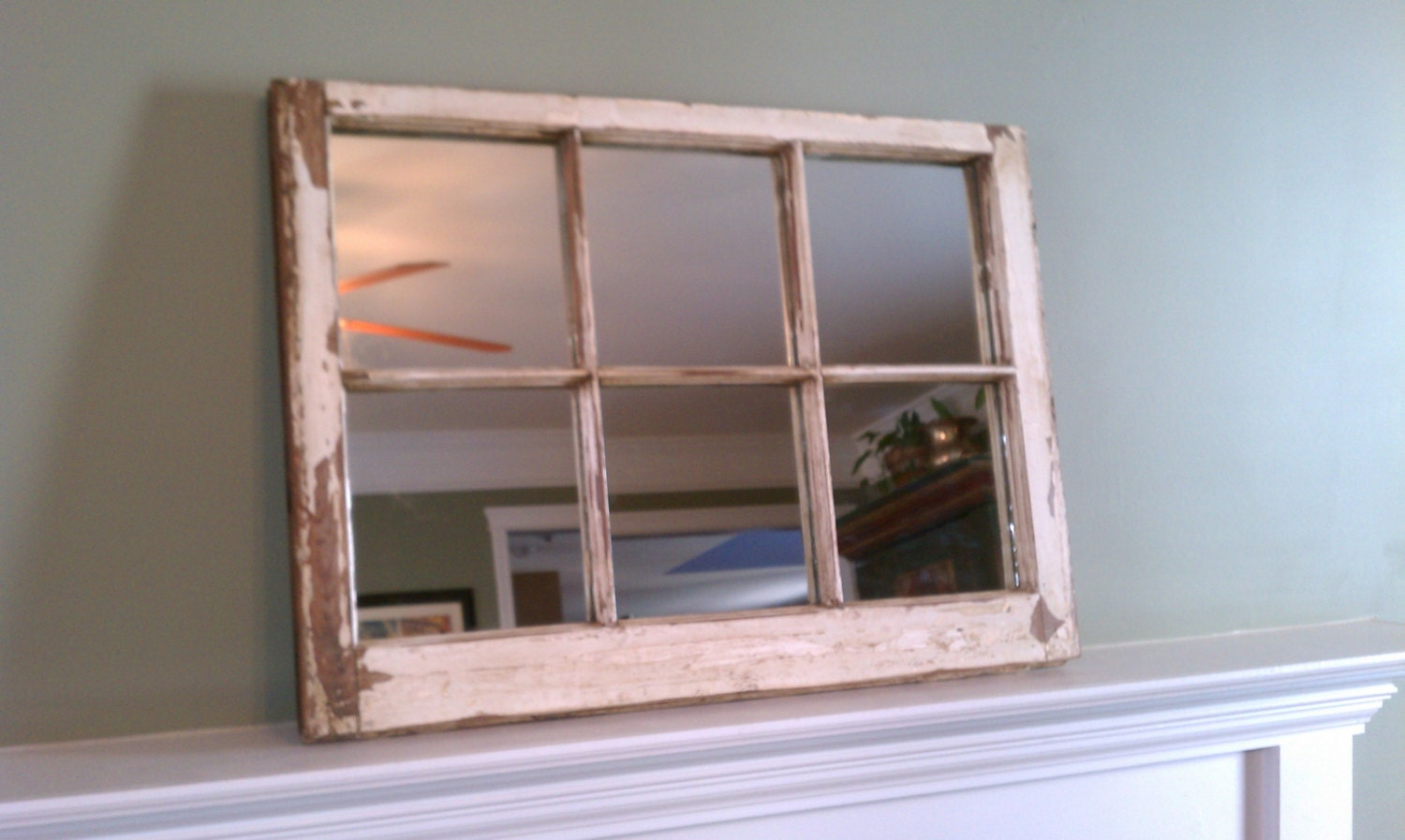 Rustic mirror made from old window pane Window pane mirror