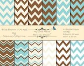Blue Brown Vintage Chevron- 12 Printable Digital Papers - 12x12inch - 300 dpi
