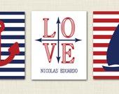 set of 3 nautical 5x7 prints- anchor print- compass print- personalized nautical- sailboat print- big boy room- baby boy room- teenage boy