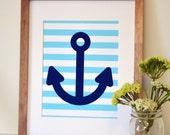 Anchor 8x10 print- nautical nursery wall art- light blue and navy- nautical baby shower decor