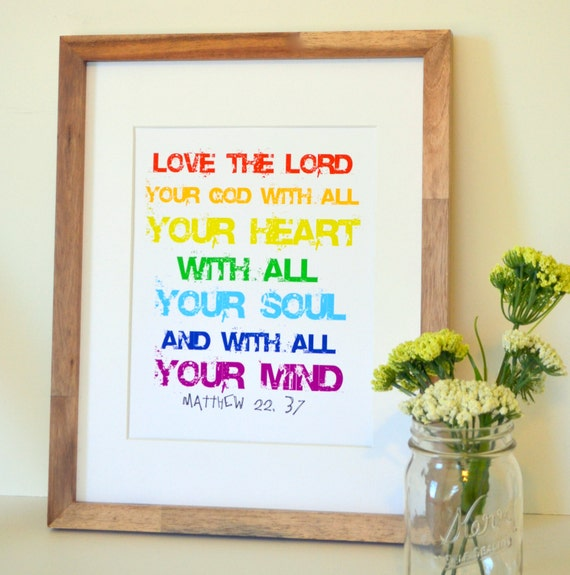 Baby Gift God Bible Verse : Items similar to bible verse print love the lord