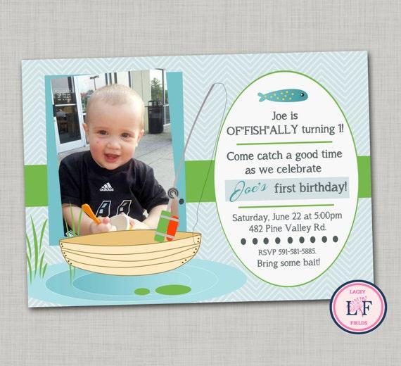 Items similar to fishing birthday invitation printable for Fishing first birthday