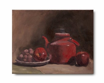 Red Teapot, Original Oil Painting, bright red and soft brown still life with apples, red grapes, fruit, Kitchen Art