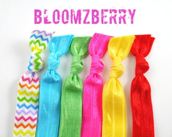 New 6 pcs Elastic Hair Tie - Rainbow Set - Chevron Rainbow, Hot Pink, Apple Green, Yellow, Turquoise and Red - Toddler to Adult