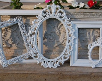 Set Of 5 White Picture Frames - Wedding - Nursery - Ornate Vintage Frame Set