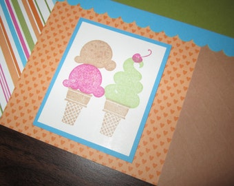 Ice Cream 12 by 12 premade scrapbook pages
