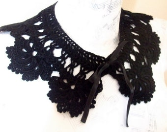 Black crochet collar, Black lace, Fashion, gift for her,Hand crochet, Collar necklace
