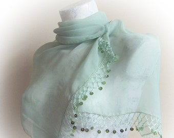 Mint chiffon fabric scarf with crochet and sequins