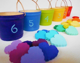 Wood hearts montessori waldorf counting numbers color sorting color matching game toy bucket of hearts