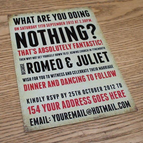 What Are You Doing Themed Vintage Retro Wedding Invitation invite