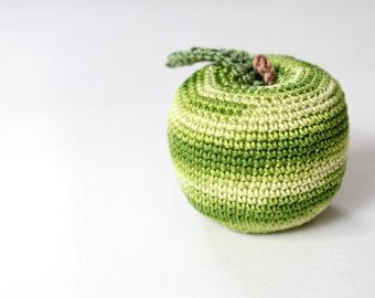 Crochet Green Apple Toy for Children, Baby