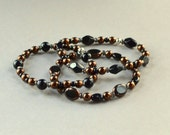 Copper and Black Beaded Stretch Bracelet Set Stacking Czech Glass Beads Fashion Jewelry 3 Stacked Elastic Jewellery Bangles Free Shipping