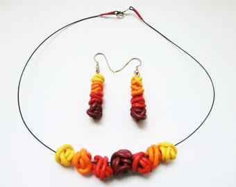 Yellow red Fimo set, necklace with earrings, beads of polymere clay wires in gradient colours/ dangle beads earrings in shaded colours