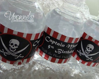Pirate Boy Water Bottle Wrappers - For Child Birthday, For Him Birthday