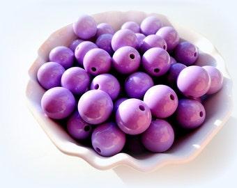 10pcs Purple Acrylic Beads 14mm Lilac Plastic Beads Lavender Round Resin Beads Soft Purple Beads Jewelry Supplies Craft Supply