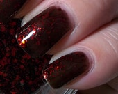 Nail Polish DRAGONSTONE Black Jelly with Red Glitter