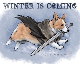Winter is Coming Corgi Postcard