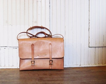 Leather Messenger Bag / Leather Satchel / Briefcase / Handcrafted in USA