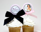 Retro Bridal Shower / Lingerie Shower Cupcake Toppers - SATIN AND LACE Printable