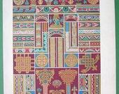 ROMANESQUE Style Wall Paintings & Manuscript Ornaments - COLOR Lithograph Antique Print by A. Racinet
