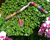 RAINBOW RATTLE WAND magic bell mini crystal ritual conductor