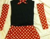 Red Polka dot running costume with sleeves