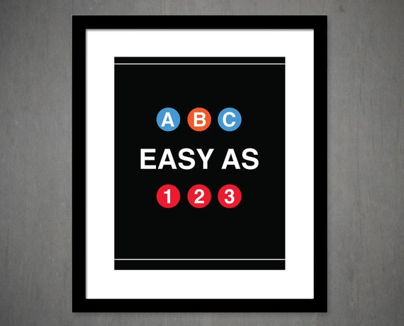 abc easy as 123 nyc inspired subway art nursery kids. Black Bedroom Furniture Sets. Home Design Ideas