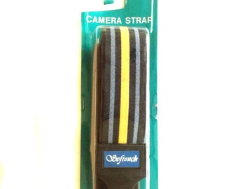NOS Softouch Camera Strap Striped Pattern Vintage New Old Stock Blue Yellow Black