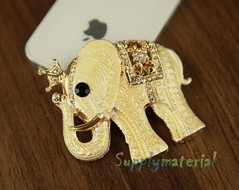 1PCS Bling Crystal Elephant Flatback Alloy jewelry Accessories materials supplies