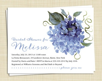Hydrangea Bridal Shower Invitations / set of 20 / 5 colors / PRINTED