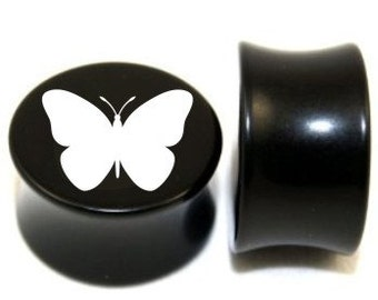 "Pair of Black Acrylic ""Butterfly"" Plugs - 0g - 3/4"""