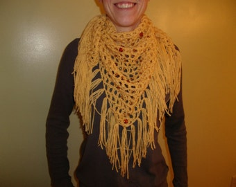 Triangle Beaded  Fringe Scarf